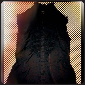 Black Silk Blouse with ruffles